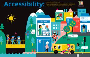 [flyer] Captura de pantalla que presenta una ciudad accesible e inclusiva, con un equilibrio de género, edad, etnia y discapacidad.