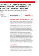 Nota analítica #02 - La gobernanza de las emergencias en las ciudades y las regiones