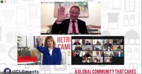 Three different zoom windows displaying: 1) UCLG Secretary General 2) UCLG President 3) UCLG Presidency hand waving goodbye